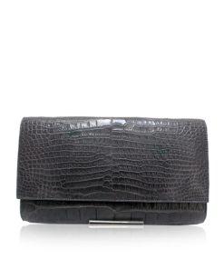 Crocodile Leather Clutch Bag, LUANA, Grey, Size 28 cm