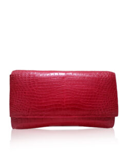 Crocodile Leather Clutch Bag, LUANA, Pink, Size 28 cm