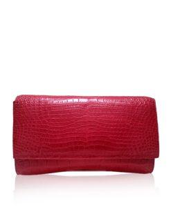 Crocodile Leather Clutch Bag, LUANA, Pink, Size 28 cm