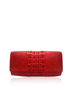 Crocodile Leather Clutch Bag, LUANA, Red, Size 25 cm