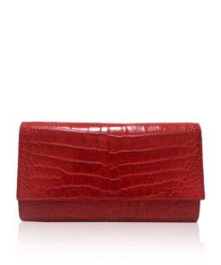 Crocodile Leather Clutch Bag, LUANA, Red, Size 28 cm