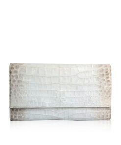 Crocodile Leather Clutch Bag, LUANA, White Himalayan, Size 28 cm