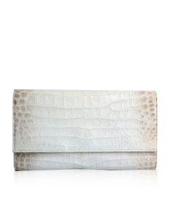 Crocodile Leather Clutch Bag, LUANA, White Himalayan, Size 28 cm