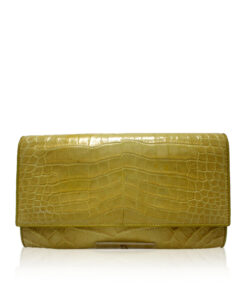 Crocodile Leather Clutch Bag, LUANA, Yellow, Size 28 cm