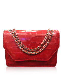 Crocodile Leather Sling Bag DIAMOND, Matte Red, Size 25