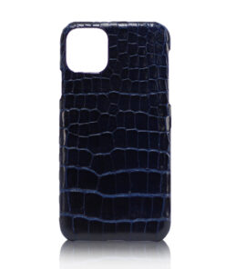 Crocodile Skin iPhone 11 Case, Shiny Dark Blue