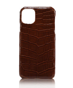 Crocodile Skin iPhone 11 Case, Shiny Brown