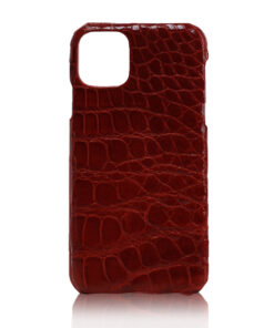 Crocodile Skin iPhone 11 Case, Shiny Burgundy