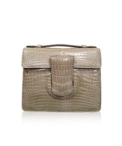 FOTO, Crocodile Leather Handbag, Shiny Light Grey
