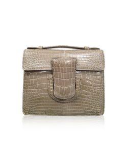 FOTO, Crocodile Leather Handbag, Shiny Light Grey