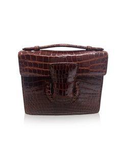 FOTO, Crocodile Leather Handbag, Shiny Brown