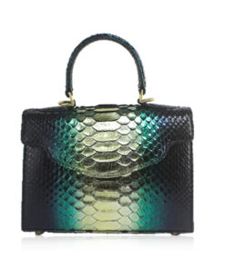 MARYAS Python Belly Leather Handbag, Metalic Green, Size 21