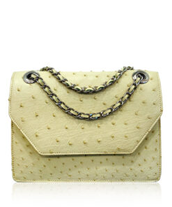 Ostrich Leather Sling Bag DIAMOND, Mint Green, Size 24