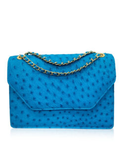 Ostrich Leather Sling Bag DIAMOND, Turquoise, Size 25