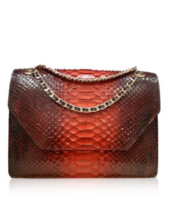 Python Leather Sling Bag DIAMOND, Red & Black, Size 25