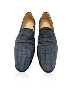 Suede Crocodile Belly Dress Shoes , Black
