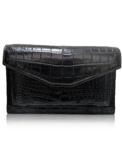 BABY CERVIN Crocodile Leather Sling Bag, Matte Black, 20