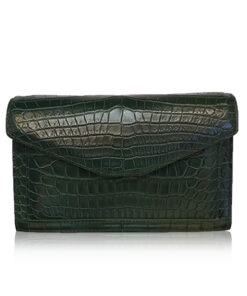 BABY CERVIN Crocodile Leather Sling Bag, Matte Green, 20
