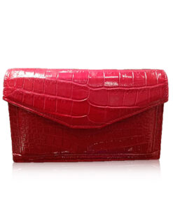 BABY CERVIN Crocodile Leather Sling Bag, Matte Red, 20