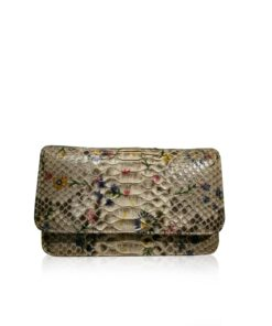 BARZAAR Python Belly Leather Clutch Bag, Shiny Natural Flower, Size20