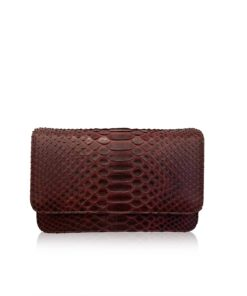 Barzaar Matte Burgundy Python Leather Clutch Bag
