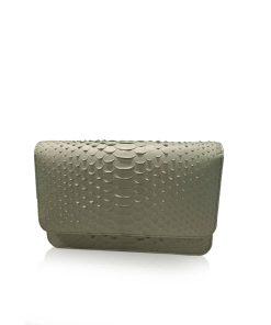 Barzaar Matte Grey Python Leather Clutch Bag