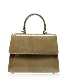 Goldmas Cobra Leather Handbag, Shiny Beige, Size 21
