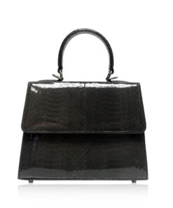 Goldmas Cobra Leather Handbag, Shiny Black, Size 21