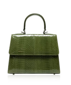 Goldmas Cobra Leather Handbag, Shiny Olive Green, Size 21