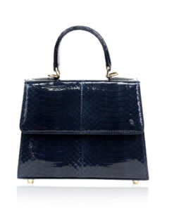 """Goldmas"" Cobra Leather Handbag, Shiny Metallic Blue Limited, Size 21"