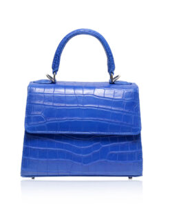 Goldmas Crocodile Leather Handbag, Matte Blue Jean, Size 21