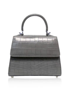 Goldmas Crocodile Leather Handbag, Matte Grey, Size 21