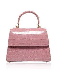 Goldmas Crocodile Leather Handbag, Matte Light Pink, Size 21
