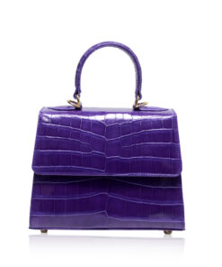 Goldmas Crocodile Leather Handbag, Matte Purple, Size 21