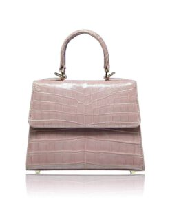 Goldmas Crocodile Leather Handbag, Shiny Cream Pink, Size 21