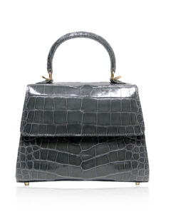 Goldmas Crocodile Leather Handbag, Shiny Dark Grey, Size 21