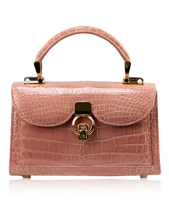 MONARCH Crocodile Skin Handbag, Shiny Cream Pink, Size 21