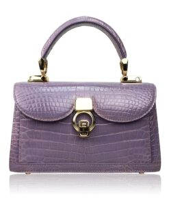 MONARCH Crocodile Skin Handbag, Shiny Light Purple, Size 21