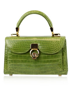 MONARCH Crocodile Skin Handbag, Shiny Olive Green, Size 21