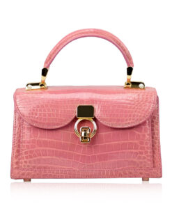 MONARCH Crocodile Skin Handbag, Shiny Pink, Size 21