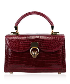MONARCH Crocodile Skin Handbag, Shiny Red, Size 21