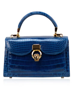 MONARCH Crocodile Skin Handbag, Shiny Royal Blue, Size 21