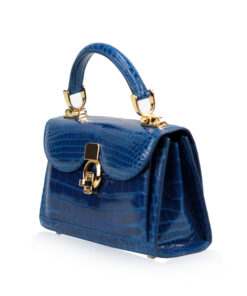 MONARCH Crocodile Skin Handbag, Shiny Royal Blue, Size 21
