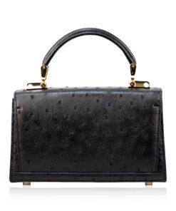 MONARCH Ostrich Leather Handbag, Black, Size 21