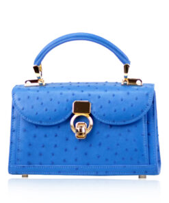 MONARCH Ostrich Leather Handbag, Blue, Size 21
