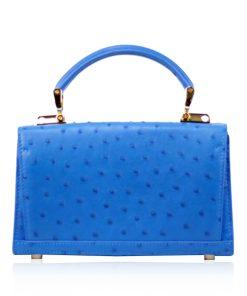 MONARCH Ostrich Leather Handbag, Blue, Size 21