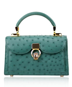 MONARCH Ostrich Leather Handbag, Green, Size 21