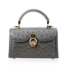 MONARCH Ostrich Leather Handbag, Grey, Size 21