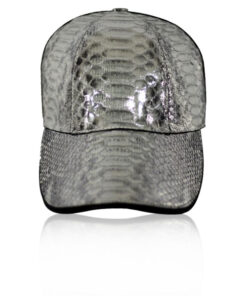 Python Belly Leather Hat, Shiny Silver Limited