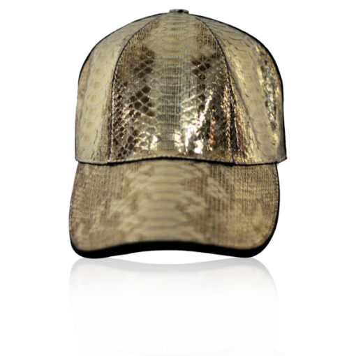Python Belly Leather Hat, Shiny Gold Limited